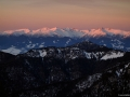 Vrcholy Vysokých Tater při západu slunce, Slovensko.