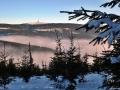 Výhled z Velkého Klínovce 1164 m n.m. na Praděd 1491 m n.m., Jeseníky.
